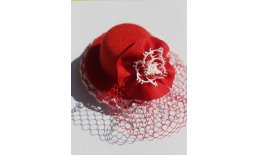 Minihut Fascinator Spitze Schleier Rot Weiss Rockabilly Burlesque Pin Up Ball Abendmode 20180419_095406